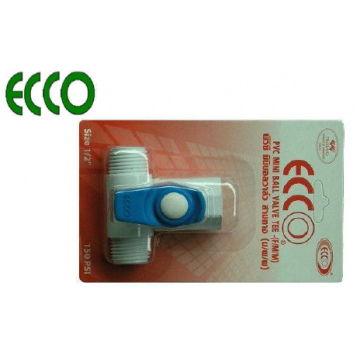 "ECCO PVC MINI BALL VALVES TEE - 1/2"" FxMxM"