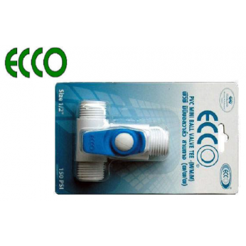 "ECCO PVC MINI BALL VALVES TEE - 1/2"" MxMxM"